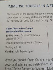 Costa Concordia American Express Ad