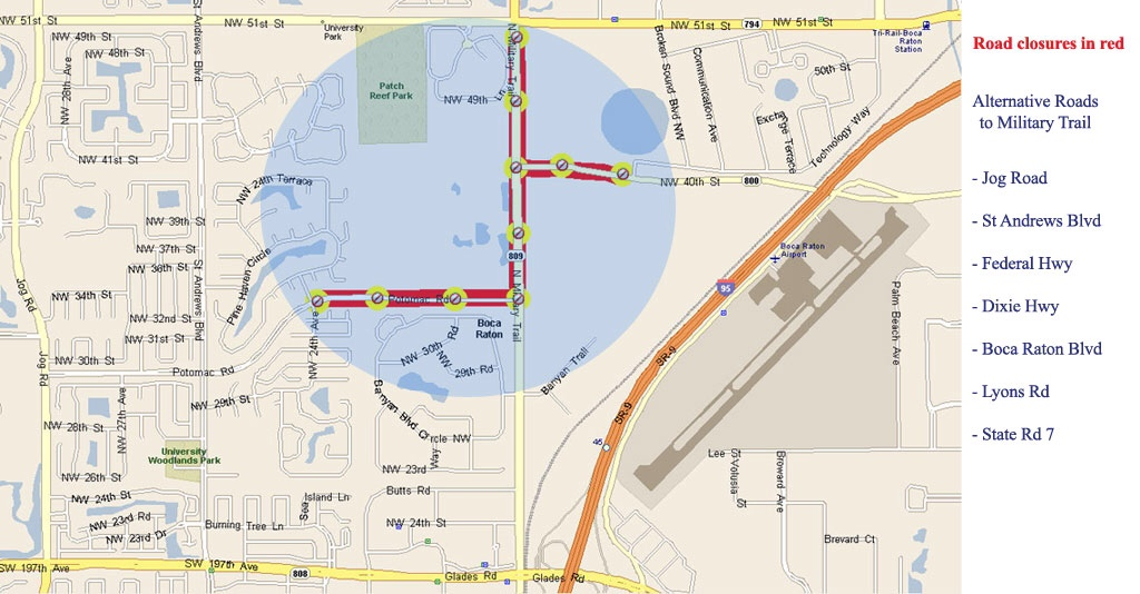 Boca Raton Debate Lynn University Road Closures