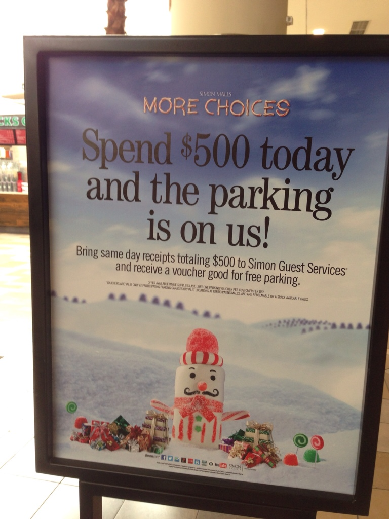 Parking promotion Boca Raton Town Center Mall.