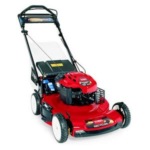 This is how the missing red Toro lawn mower likely appears.