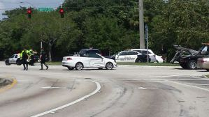 Police are on the scene at Palmetto Park Road and I-95. (Courtesy Boca Raton PD).