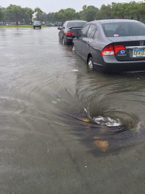 Wild weather in Boca Raton yielded fast rising water in the parking lot of Town Center Mall.
