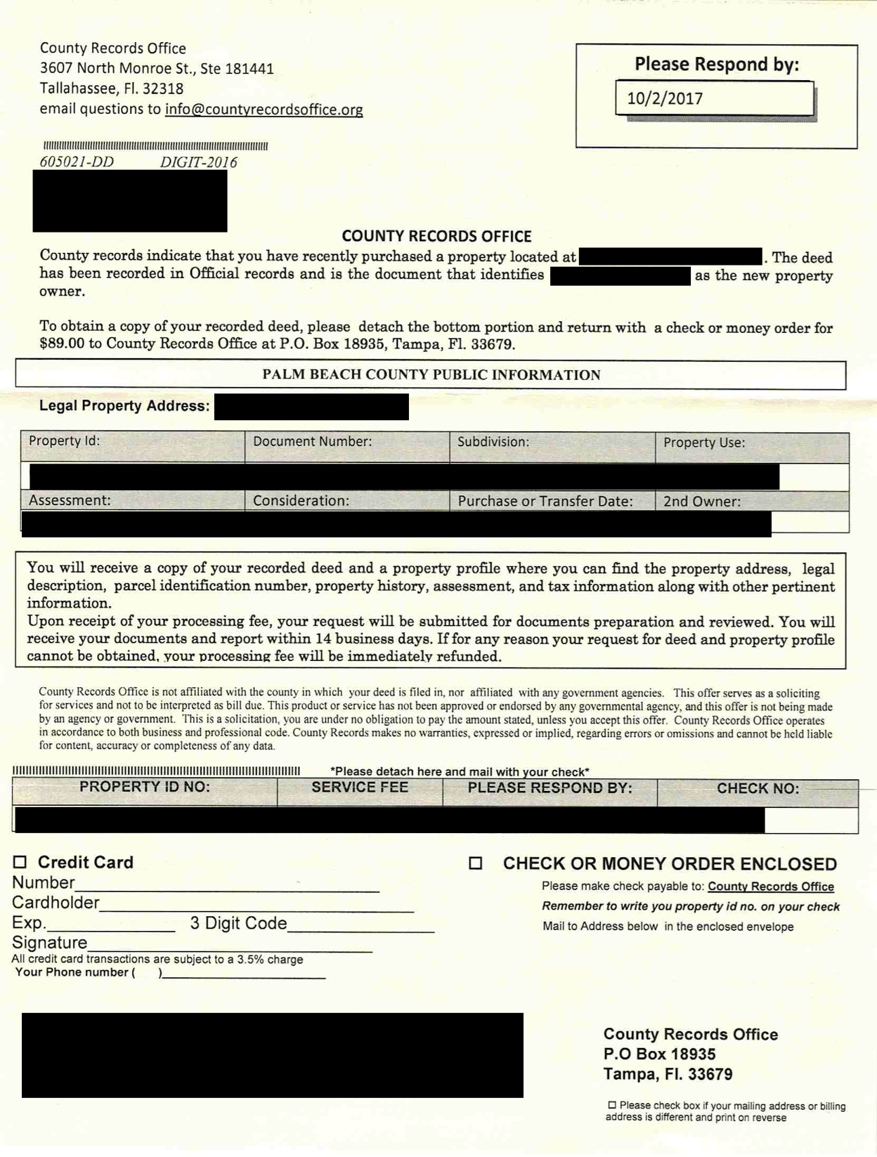 palm beach letter scam beware of deed scam letters from county records 13832 | FakeDeedTampa