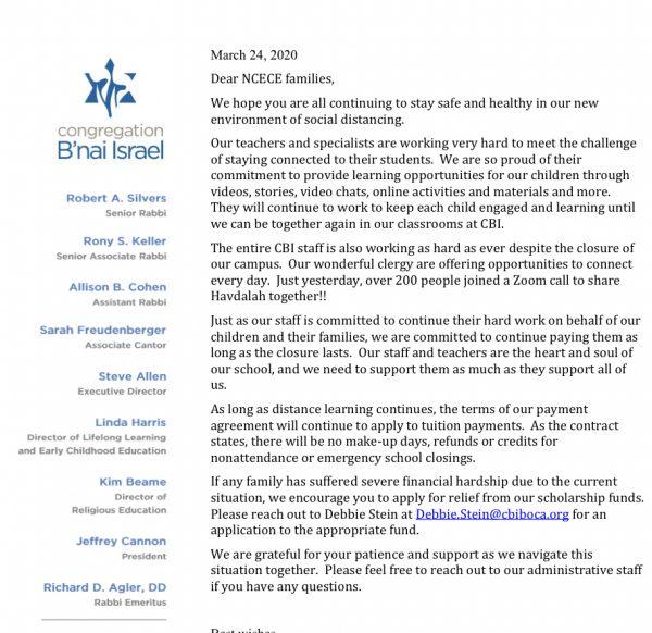 B'Nai israel letter covid-19
