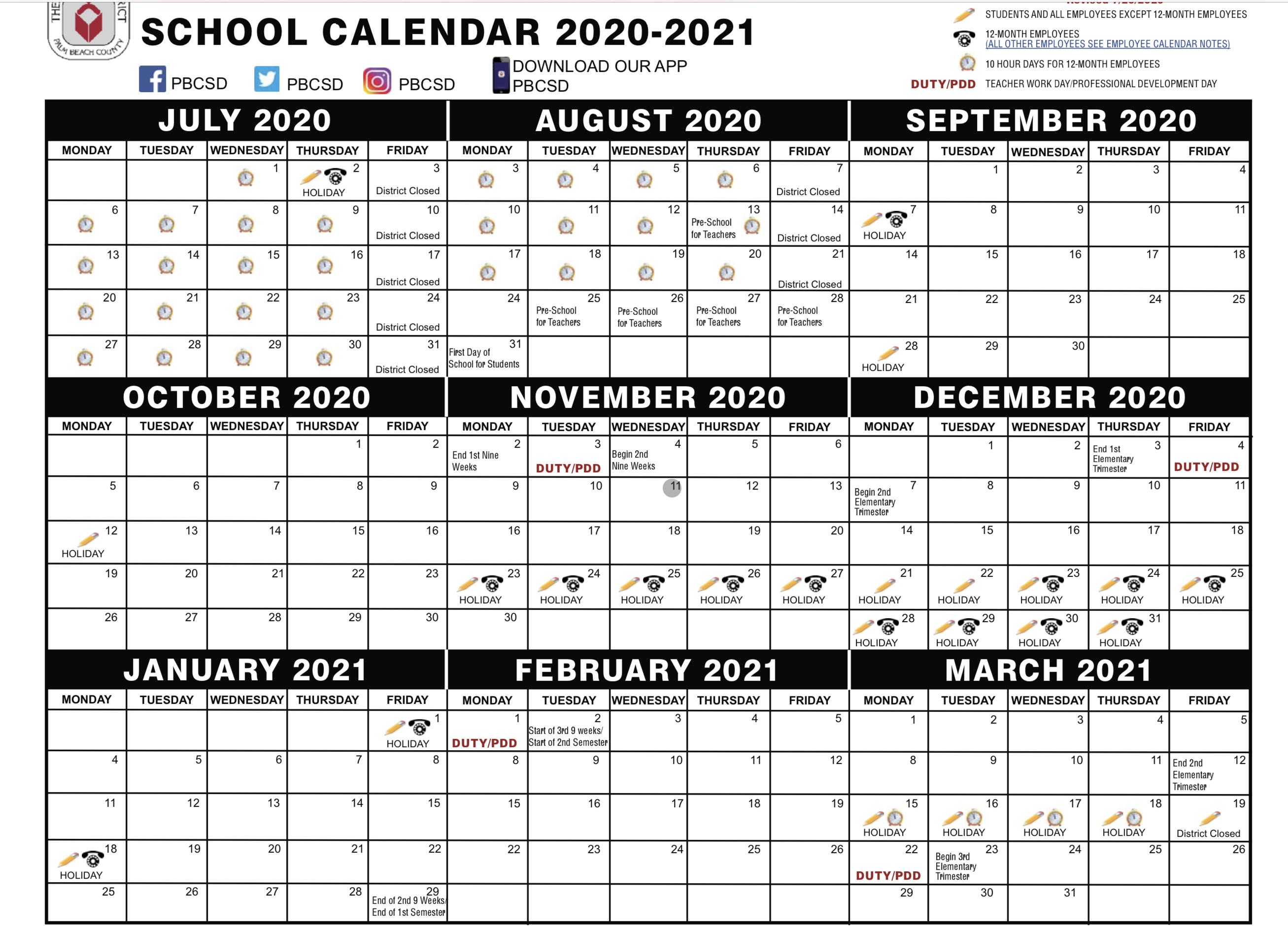 palm beach school calendar 2020-20201