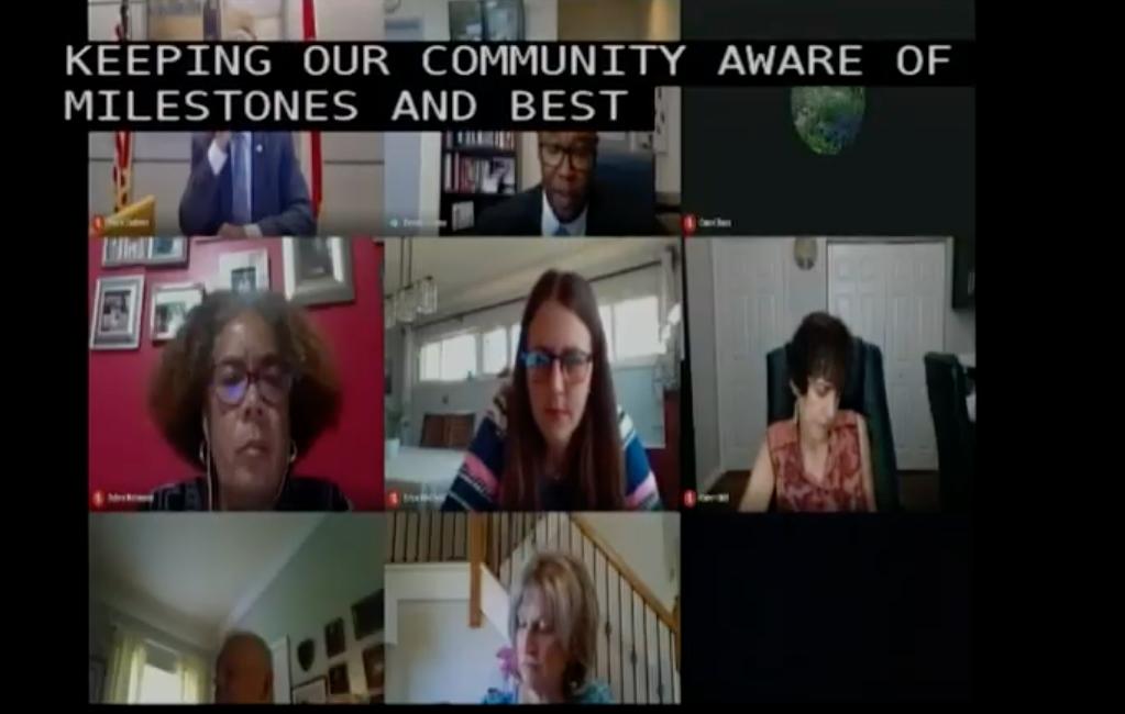 screen shot from school board meeting