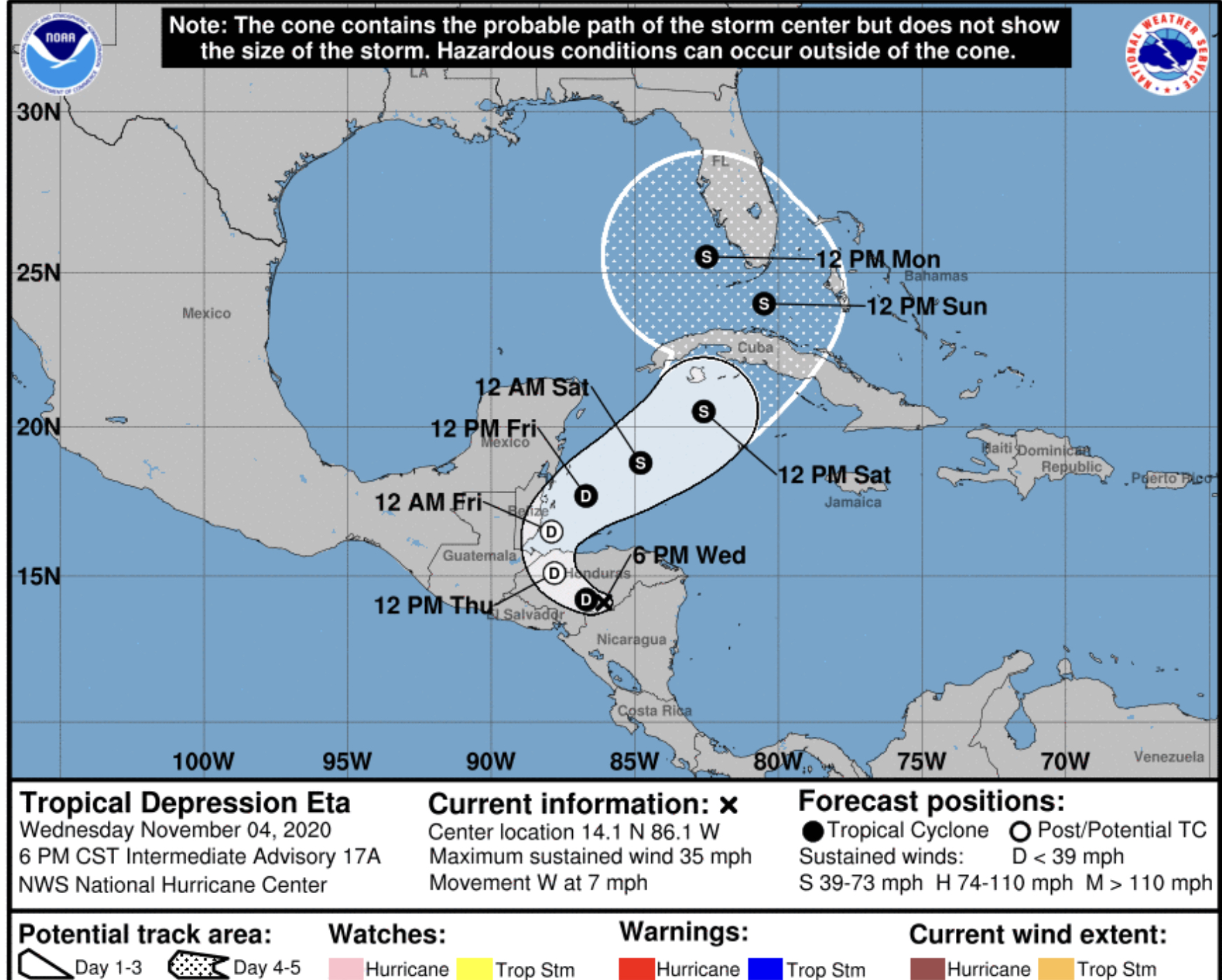 eta national hurricane center wednesday november 4, 2020 8p