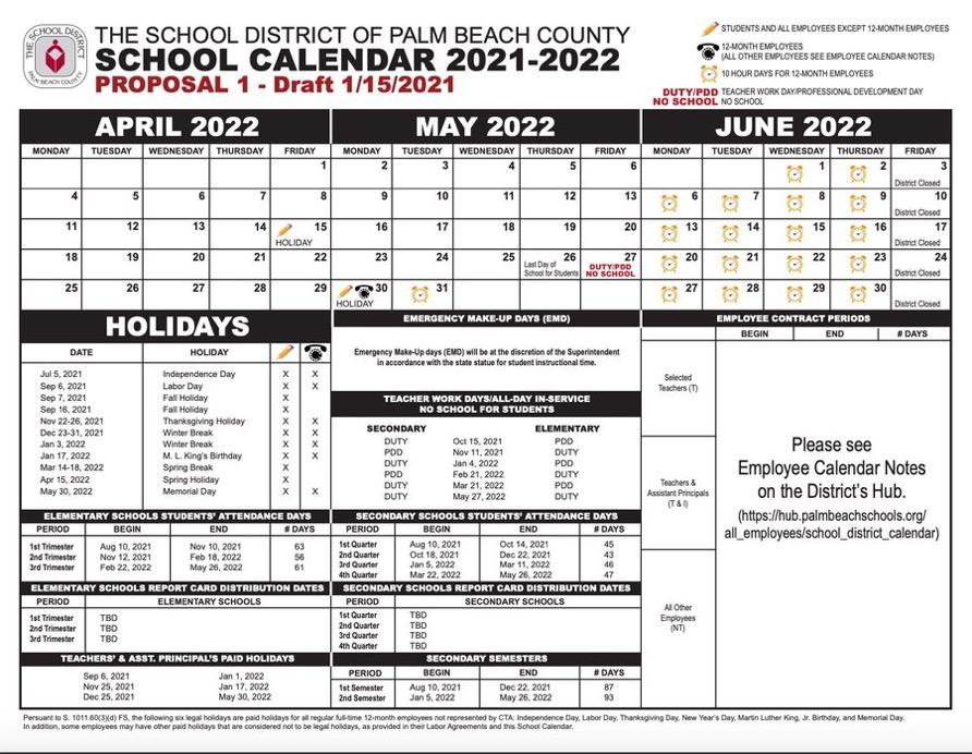 school district calendar 2021-2022