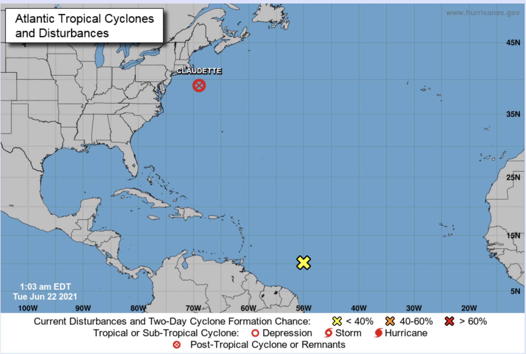 National Hurricane Center early Tuesday morning June 22 2021