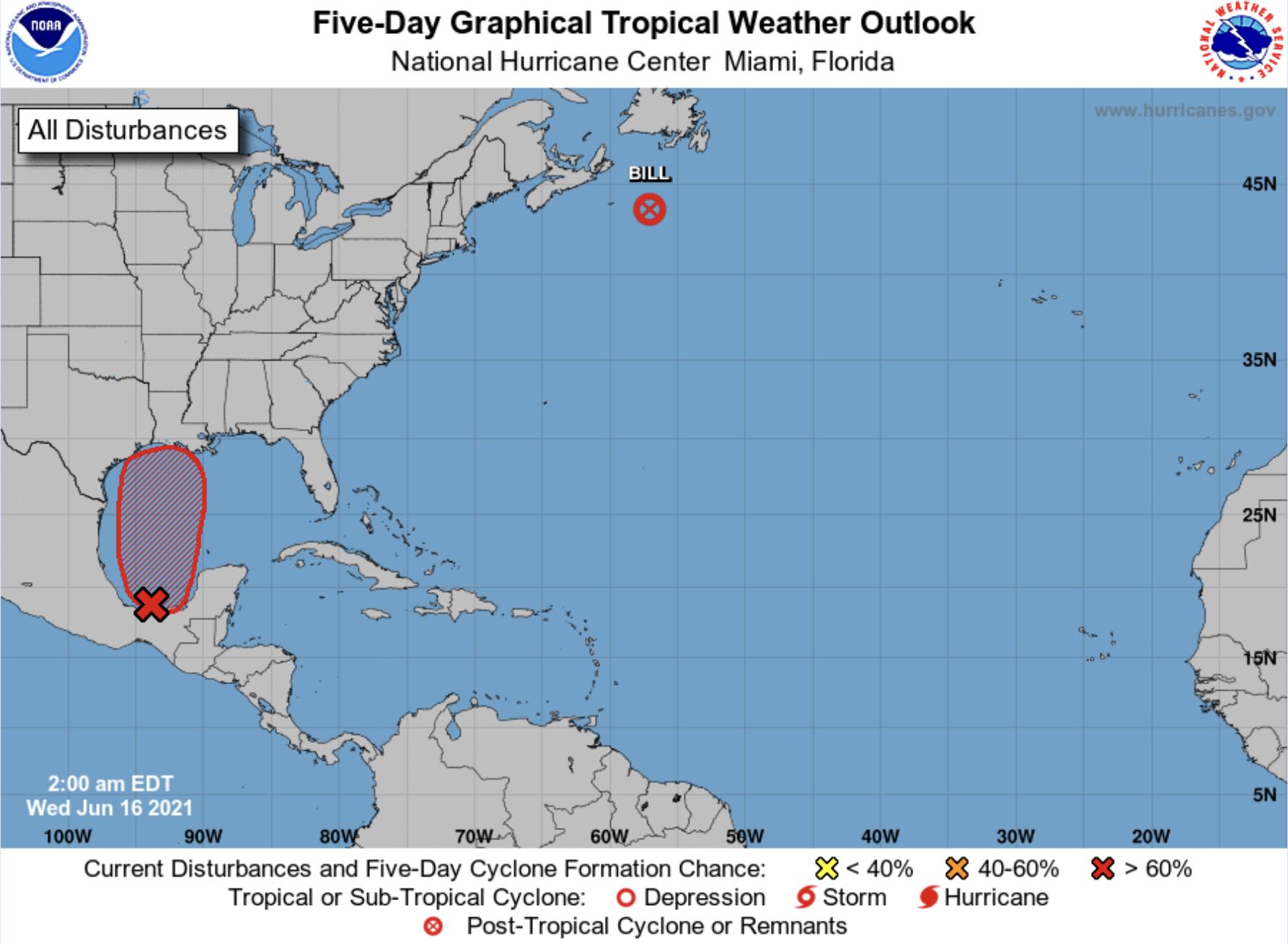 National Hurricane Center June 16 2021 red zone