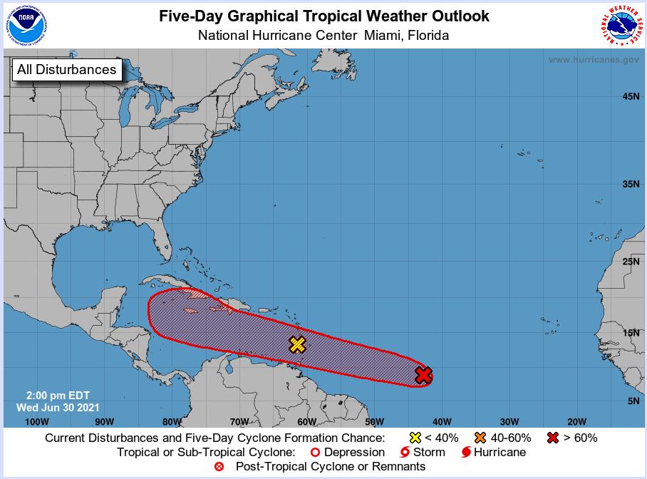 national hurricane center June 30 2021 2pm