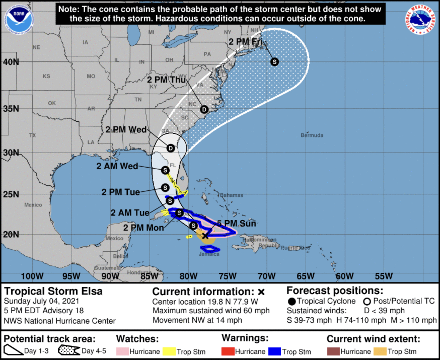 Tropical Storm Elsa Florida 5pm Sunday
