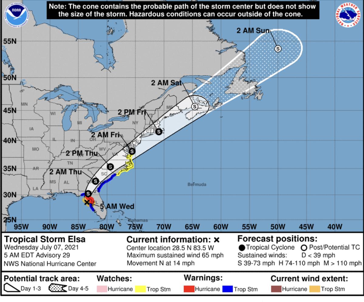 Tropical storm elsa florida