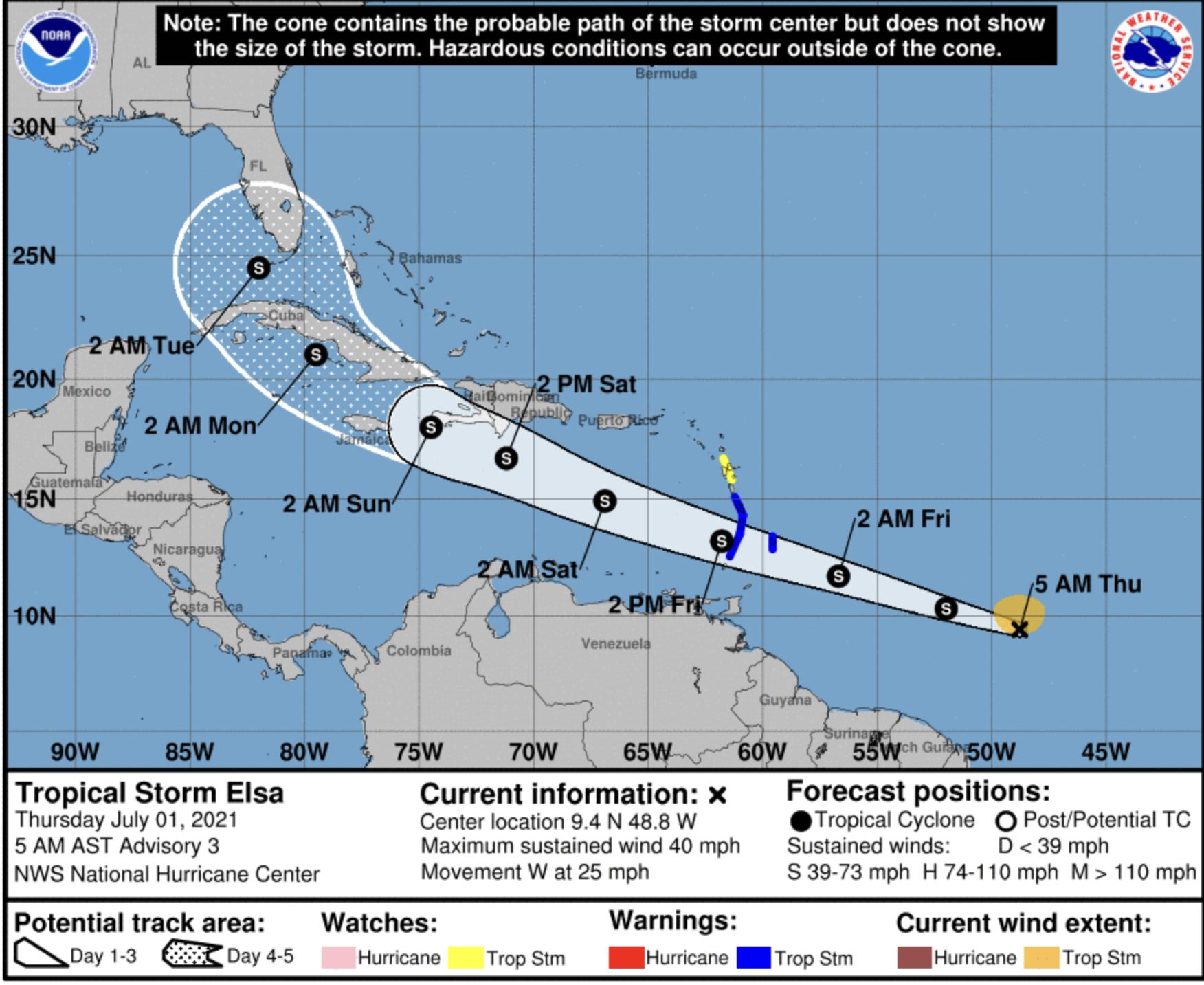 National hurricane center Elsa July 1 2021