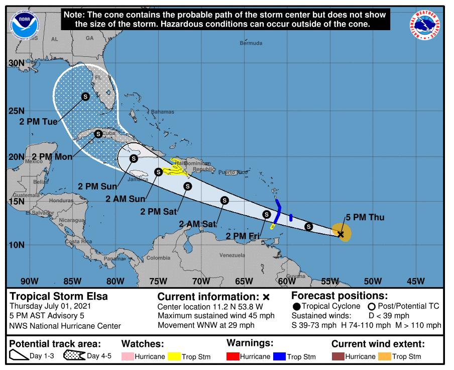 Elsa national hurricane center 5pm thursday
