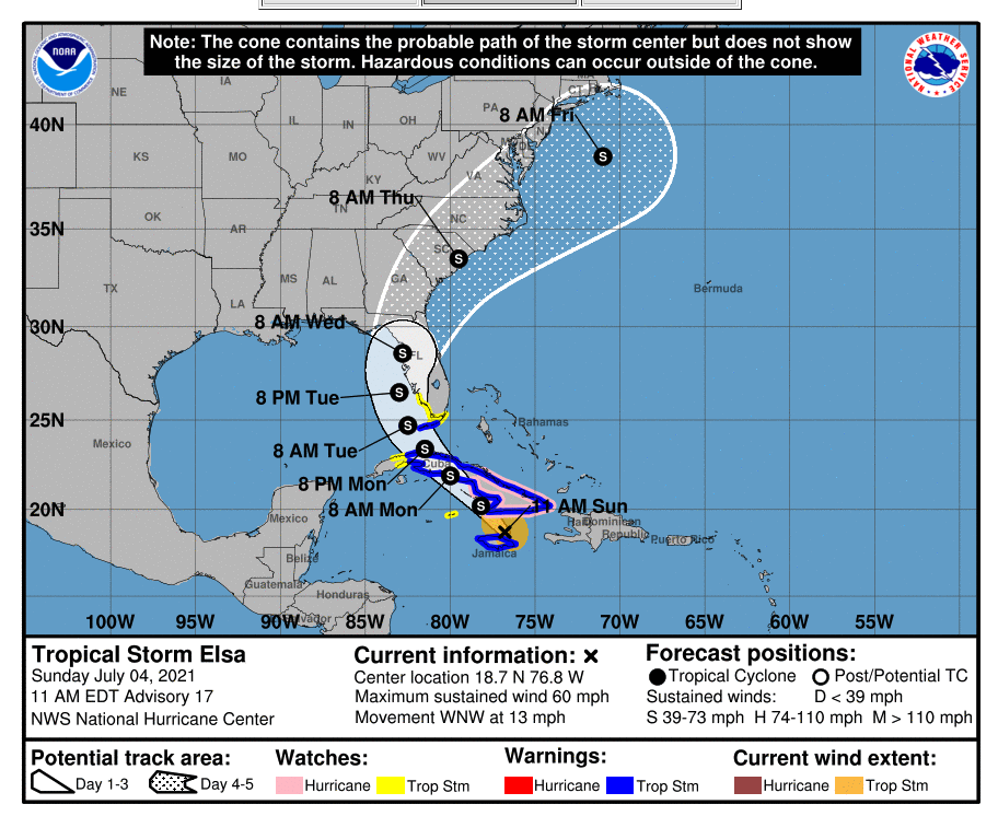 Tropical Storm Warning Elsa Florida