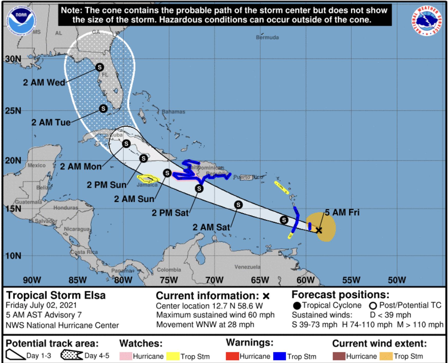 Elsa tropical storm