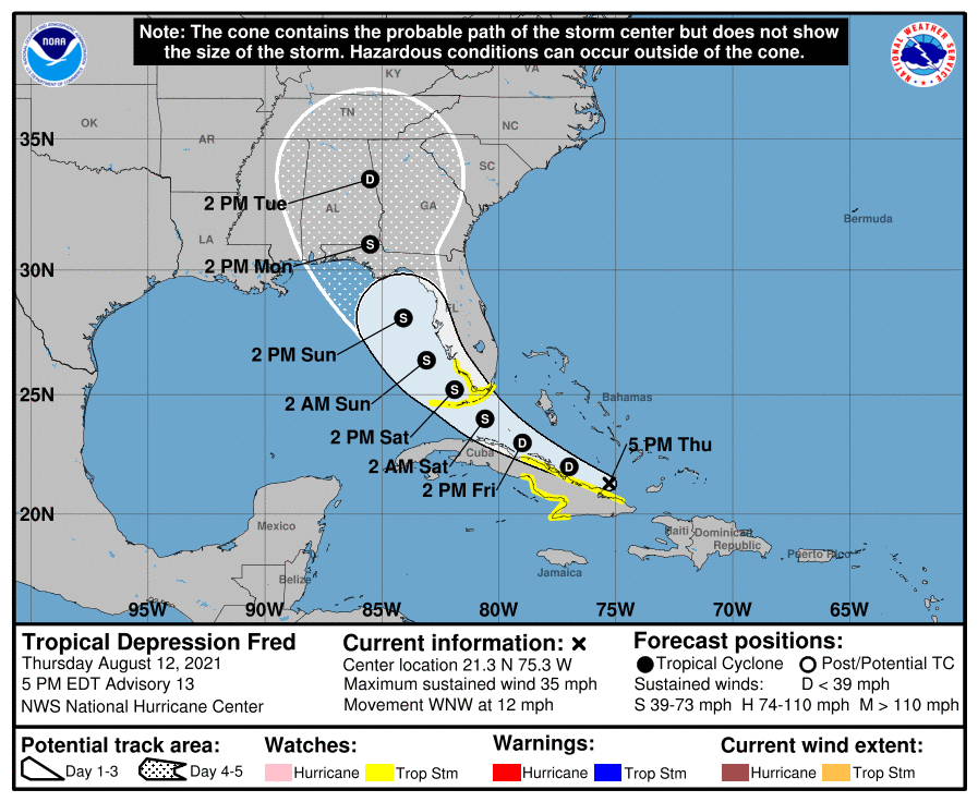 Tropical storm watch fred