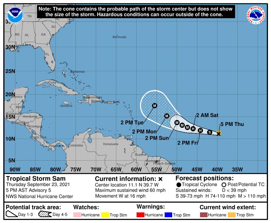 tropical storm sam