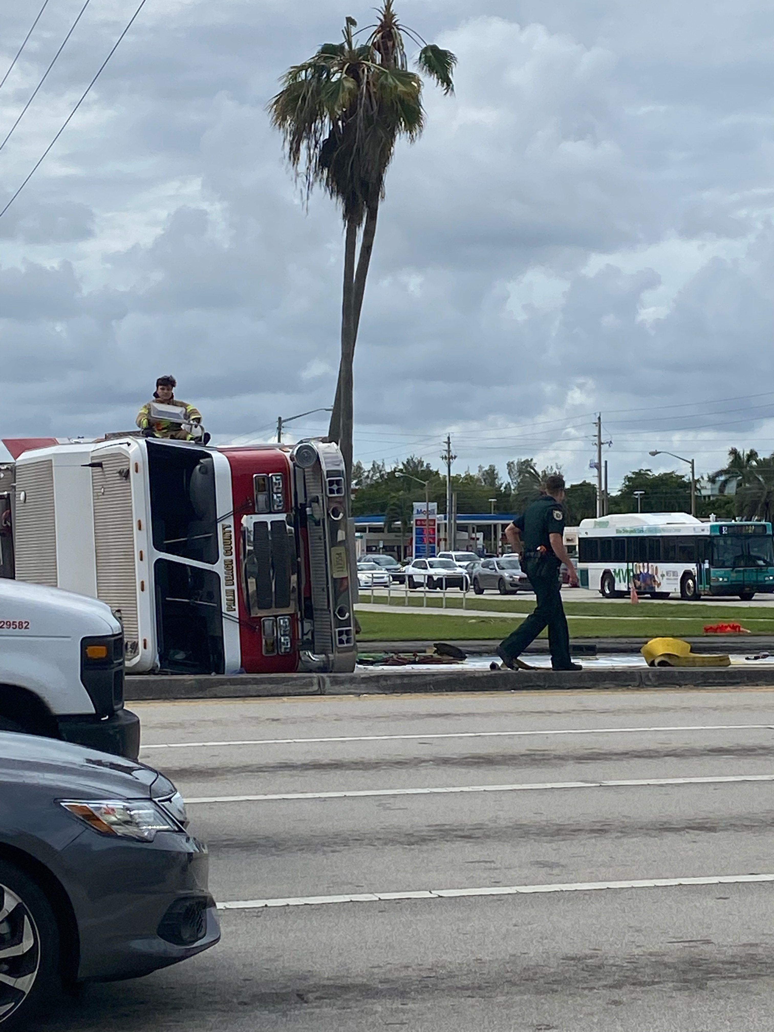 Flipped Fire Truck